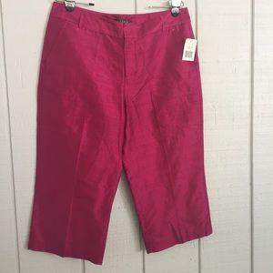 Ralph Lauren Silk Capri size 14P Raspberry Color